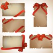 Set of beautiful cards with red gift bows — Vettoriali Stock
