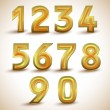Stock Vector: Gold numbers.
