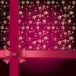 Elegant holiday background with gift pink bow and ribbon. — Stok Vektör