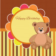 Birthday party card with Teddy bear — Stock Vector