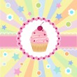 Cute happy birthday card with cupcake. — Stock Vector