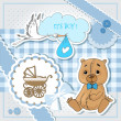 Baby shower blue card — Stock Vector