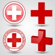 Stock Vector: First aid medical button sign