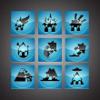 Disasters Icon Set - Stock Vector