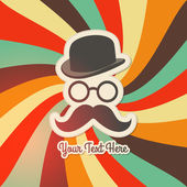 Vintage background with bowler, mustaches and glasses. — Vector de stock