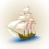Old ship with sails. — Stock Vector