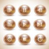 Set of vector media player buttons. — Stock Vector