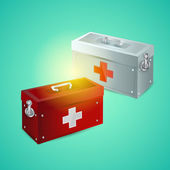 Vector illustration of first aid box — Stok Vektör
