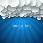 White paper clouds over blue. — Vector de stock