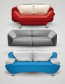 Vektor-reihe von bunten sofas — Stockvektor