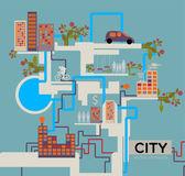 City vector background, info graphic. — Stock Vector
