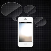 Smartphone with speech bubbles hovering — Stock Vector