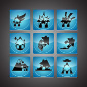 Disasters Icon Set — Stock Vector