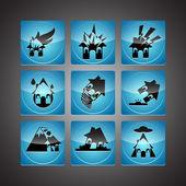Jeu d'icônes de catastrophes — Vecteur