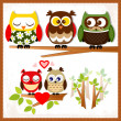 Set of five owls with various emotions. — Stok Vektör