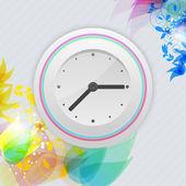 Orologio vector su sfondo floreale. — Vettoriale Stock