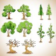 Vector set of green trees. - Stock Vector