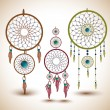 Stock Vector: Vector set of dream catchers.
