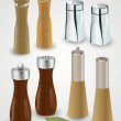 Salt and pepper mills and shakers - Stockvectorbeeld