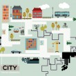 Vector de stock : City vector background, info graphic.