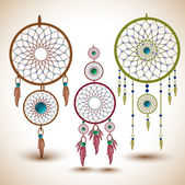 Vector set of dream catchers. — ストックベクタ