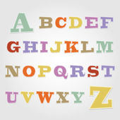 Joyful sticker font - letter from A to Z — Stock Vector