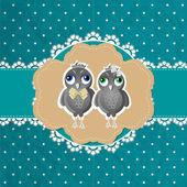 Vector floral frame with birds — Stock Vector