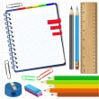 Close up of various school items — Stock Vector #24469957