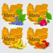 Stock Vector: Vector illustration - set of fruits with menu.