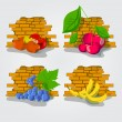 Various Fruits border - vector illustration — Stock Vector