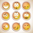 Set of characters of yellow emoticons — Stock Vector