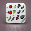 Set of fruits and vegetables icons — Stock Vector