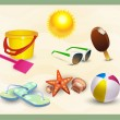 Beach icons set. vector - Stock Vector