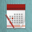 Vector illustration of calendar icon and pen — Stock Vector