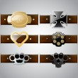 Vector set of belt buckles — Imagen vectorial