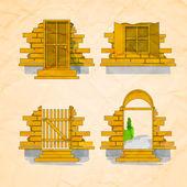 Ilustración de una puerta y ventanas — Vector de stock