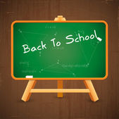 Back to school text on vector blackboard — Vector de stock