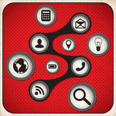 Blogging icons set White and Red Series. Vector — Stok Vektör
