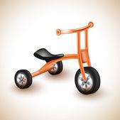 Cute orange kids tricycle. — Stock Vector