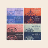 Set of Beautiful Retro Cards - for invitation — Stock vektor