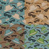 四无缝背景与复古时髦元素的一组 — 图库矢量图片