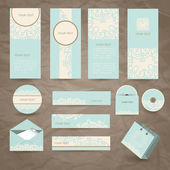 Set of vector vintage cards, envelope and package — Stock Vector