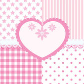 Vector set of heart and 4 seamless background patterns — Stock Vector