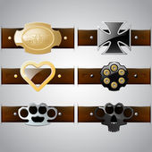 Vector set of belt buckles — Stock Vector
