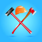 Helmet, hammer and ax isolated on blue background — Stock Vector