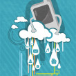 Phone with a cloud - Stock Vector