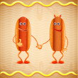 Stock Vector: Two hotdogs