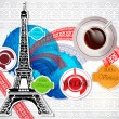 Eiffel tower and coffee over vintage background. — Stock Vector