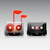 老式的模拟音乐刻录卡带. — 图库矢量图片