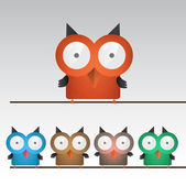 Colorful owls — Wektor stockowy